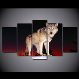 Wholesale Modern Abstract Painting Black Red - 5 Pcs Set Framed HD Printed Black And Red Wolf Animal Wall Canvas Print Poster Modern Art Oil Paintings Pictures