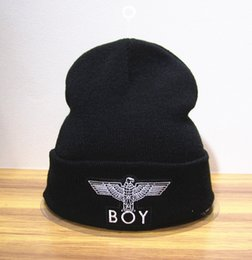 Wholesale Boy London Beanie Hats - Hot fashion BOY LONDON hat autumn winter men beanie two layer warm knitted hip-hop hats casual outdoor sports cap skatebord gorro black grey