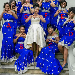 Wholesale customized charms - Charming 7 Styles Bridesmaid Dresses Lace Applique Royal Blue One Shoulder Sweetheart Off Shoulder Bridesmaid Gowns Nigeria Wedding Dresses