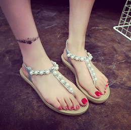 Wholesale Roman Sweets - 2017 summer new student Gladiator rhinestone beaded sandals Casual women sweet pearl flat princess Roman Flip Flops shoes