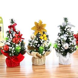 Panno da tavolo online-Albero decorativo di Natale alto 20 cm con fiori artificiali, fiori artificiali in PVC + decorazioni per la tavola. Decorazioni natalizie
