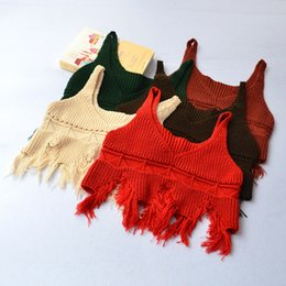 Wholesale Green Baby Knitted Vest - Autumn 2017 Kids Girls Knit Tassel Waistcoats Baby Girl Fashion Hallow Out Vests Girls Kids Clothing
