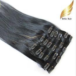 Wholesale eurasian straight hair - Discount Fashionable Human Hair Extensions Natural Eurasian Clip in on Hair Extensions #1 Color Straight 20inch 100g set Bellahair
