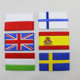Wholesale computer delivery - computer embroidery patch national flag for collection 10pcs lot hot cut Iron on manufactory welcome customized random delivery