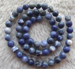 """Wholesale Pearl Blue 6mm - free shipping natural beautiful Jewelry AA wholesale NEW 2Strand 6mm Natural Color Sodalite Round Loose Beads Spacer DIY Strand Stone 15"""""""