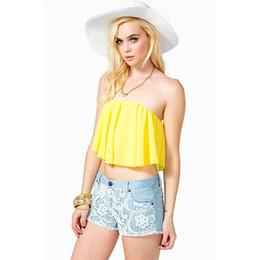 Corsés amarillos de talla grande online-Al por mayor-Nueva Strapless Tube Top Fashion Sexy Backless Yellow Corset más el tamaño S-xl Crop Top Wrapped Cofre envío gratuito