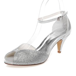Wholesale Kitten Heel Evening Shoes Silver - 6.8cm Heel Sparkle Silver Color Prom Party Shoes Bridal Shoes Wedding Dress Shoes Handmade Shoes Evening Shoes Prom Party Shoes Size 42
