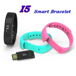 Wholesale Green Display Iphone - Latest I5 Smart Bracelet Bluetooth4.0 Smart Wristband OLED display Sleep mode Call Reminder Smart Watch for iphone Samsung Android cellphone