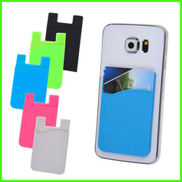 Wholesale Blackberry Credit - Ultra-slim Colorful Self Adhesive Credit Card Wallet Card Set Card Holder For Smartphones For iPhone 7 6S Sumsung S8