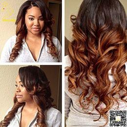 Wholesale Malaysian U Wigs - U Part Wig Human Hair Malaysian Human Hair Body Wave U part Wigs Two Tone Color T#1b#30 Right Part For Balck Women