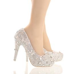 2020 Prata Rhinestone lindo Cinderella de cristal sapatos de estilete Plataformas vestido da noiva Sapatos Graudation Partido Prom Shoes de