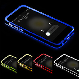 Wholesale Iphone 4s Lighting Case - Hybrid incoming calls flash Up Clear TPU PC Case light LED Back Cover for iphone 6 6S plus 5S SE 4S Samsung Galaxy S6 S5 note 4 3 A5 A7