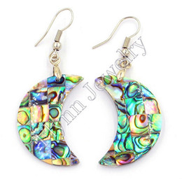 Wholesale Women Purple Shell - Natural Abalone Shell Drop Earrings Oval Hollow Ear New Fashion Charms Accessories Silver Plated Fashion Jewelry For Women