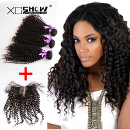 Wholesale ms lula hair - Unprocessed 7a grade ms lula hair with closure and bundles 100 human hair weave peruvian kinky curly virgin hair with closure free ship