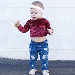 Wholesale Organic Infant Clothing - INS Toddler kids T-shirts Autumn Winter Baby girls pleuche short tees Infants long sleeve pure color tops Newborn cute clothes C1988