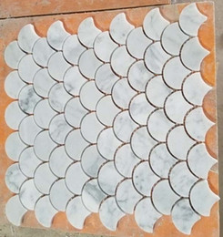 Wholesale Mosaic Tile Shapes - Fine Fan-Shaped Carrara White Marble Mosaic Tile Home Decoration for Feature Wall, Waterproof Kitchen Backsplash, Bathroom Surround 5pcs lot