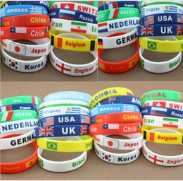 Wholesale Stainless Chain Usa - Different country national flag band logo silicone bracelets Fashion USA UK wristband bracelet charm waistband for National day party gifts