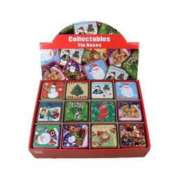 casi di latta natale Sconti 12 pz / set Moda Babbo Natale Tin Box Di Natale Latta Scatole di Caramelle Tè Caddy Cookie Sundries Storage Case ZA5073