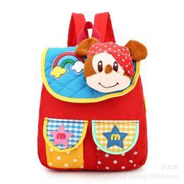 Wholesale Boy Diaper Bags - Baby Diaper Cartoon Monkey Girl Boy Canvas Travel Brand Kid Feeding Food Storage Bags Mom Mother Plush Maternity Nappy Children Schoolbag