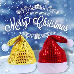 Wholesale Santa Fancy Dress - 120Pieces  Lot Santa Hats Claus Fancy Dress Christmas Night Party Decoration Supplies Sequin Cap Adult Christmas Santa Xmas Hat