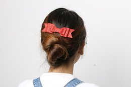 Wholesale Double Bow Clips - Wholesale- 2016 Hot Fashion Lovely Women Girls Bling Hair Clip Sequined Double Big Bow Knot Barrettes Party Wedding Hair Accessories