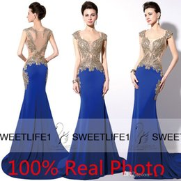 Wholesale Shiny Stockings Red - In Stock Royal Blue Dubai Arabic Dresses Party Evening Wear Gold Shiny Embroidery Crystal Sheer Back Mermaid Prom Dresses Real Image Cheap