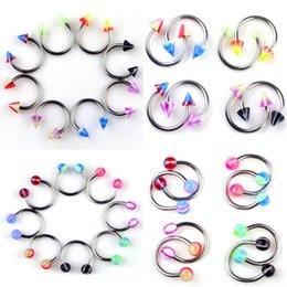 Wholesale Bar Ear Rings - Stainless Steel Horseshoe Bar Rings Lip Nose Ear Eyebrow Piercing Grillz Dental Grills 19G Body Jewelry 100Pieces