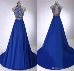 Wholesale Detailed Back Evening Gown - High Neck Two Piece Prom Dresses 2016 Royal Blue Satin Court Train Crystal Detailing Draped Open Back Formal Evening Gowns Real Photos