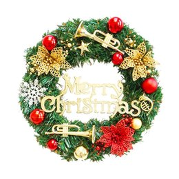 Wholesale Christmas Tree Decorations Luxury - 30CM Luxury Merry Christmas Party Poinsettia Pine Wreath Door Wall Decoration Hanging pendant Rings gift style drop shipping Christmas Hallo