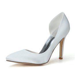 Wholesale Champagne Pumps Wedding - 0608-07 Simple Fashion High Heels Wedding Dresses Slip-on Pointed Toe For Women Party Prom Evening Occasion Shoes High Quality