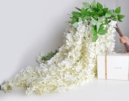 Wholesale Hanging Baskets Flowering Vines - white 1.6 Meter Long Elegant Artificial Silk Flower Wisteria Vine Rattan For Wedding Centerpieces Decorations Bouquet Garland Home Ornamet