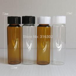 Wholesale Amber Glass Bottles 2oz - Wholesale- 24pcs lot 15ML Amber Clear Screw Neck Glass Bottles With Plastic Cap 1 2Oz Glass Vials