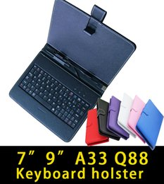 """Wholesale Port Leather - Wholesale7"""" 9"""" Leather Case Keyboard Standard USB Port With Stand Protective Cover For 7 9 Inch A23 A33 Q88 Android Tablet PC"""