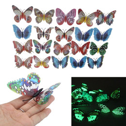 Wholesale Magnetic Butterflies - 20pcs pack 8cm Artificial Butterfly Luminous Fridge Magnet for Home Christmas Wedding Decoration