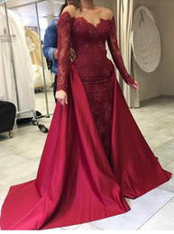 Wholesale Removable Prom Dress Sheath - Burgundy Sheer Neck Long Sleeves Formal Evening Gowns with Removable Overskirts Mermaid Long Prom Dress Full Lace Sequins BA7093