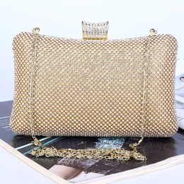 Wholesale Bling Diamond Purses - black gold silver 3 colors purse ladies party clutch bag Handmade rhinestone Crystal beaded bling evening bag with chain
