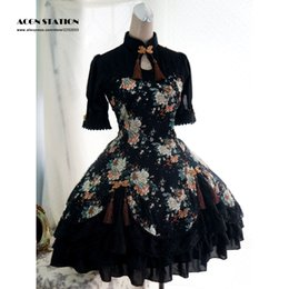 Wholesale Ups Tv - Wholesale-2016 New Black Cotton Qi Lolita One-piece Dress Short Sleeves Peony Print Lace Up