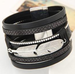 Wholesale Top Brand Bracelets Men - 5Colors European Magnet Leather Wrap Bracelet Women Crystal Bracelet Leaf Design Unisex Top Brand Men Bracelet Fashion Silver Charm Bracelet