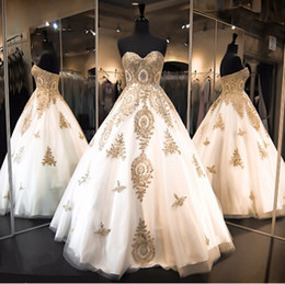 Wholesale Dear Party - 2016 Luxury Dear Arab Quinceanera Dresses Ball Gowns Sweetheart White with Gold Embroidery 15 Year's Prom Gowns Vestido De Robe Party Gowns