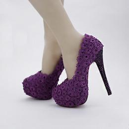 stilettos púrpura del rhinestone Rebajas 2019 Flor púrpura Rhinestone zapatos de novia tacones altos Stiletto Shoes Performance Party Pumps Wedding Party Prom zapatos de mujer