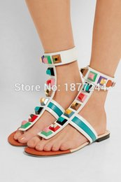 Wholesale Rainbows Flip Flops - Rainbow Multicolor Rivets Women Flats Sandals Shoes Gladiator Style Brand Designed Open Toe Flip-flops Ankle Wrap Woman Shoes