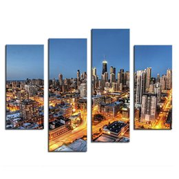 Wholesale Night City Oil Painting - 4 Picture Combination Canvas Art Wall Art Painting Skyscrapers With Golden Light At Night Picture Print On Canvas City