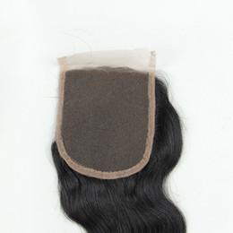 chiusura frontale completa indiana Sconti Chiusura brasiliana dell'onda del corpo 4x4 del merletto dei capelli del Virgin 7A, chiusura dei capelli umani con le chiusure candeggiate dei nodi