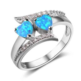 Wholesale Womens Diamonds Rings - Fashion Womens 925 Sterling Silver Simulated Diamond Rings Turquoise Wedding Engagement Rings Gemstone Opal Rings Lots