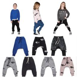 Wholesale Yellow Boys Trousers - NUNUNU Kids Harem Pants Eyes Patch Print Baggy Boys Girls Baby Kids Autumn Long Trousers Toddler Sportswear Casual Clothing 1-7T