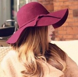 Wholesale Ladies Wool Church Hat - Floppy Hats NEW Sun Beach Bowknot Hats Cap Lady Wide Brim Felt Bowler Fedora Cloche Hat Imitation Wool Large Brimmed Hat