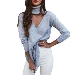 Wholesale Knit Halter - Wholesale- Winter casual solid women long sleeve folded choker v neck halter cut out knitted sweaters pullovers ladies slim jumper Femme