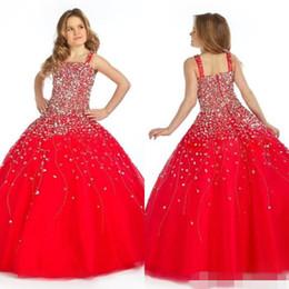 2019 платья для вечеринок Урожай Принцесса Красный сильно бисероплетение длина пола бальное платье дети Пром театрализованное платья для малышей Grls Glitz Pageant платья скидка платья для вечеринок