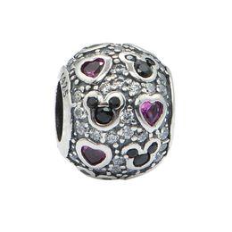 Wholesale European Beads Swarovski - Silver swarovski heart charms beads set infinity S925 sterling silver fits pandora style DIY bracelet free shipping hot sale LW450