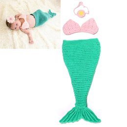 Wholesale Knitted Mermaid Infant Costume - newborn photography props baby Costume Mermaid Infant baby photo props Knitting fotografia newborn crochet outfits accessories